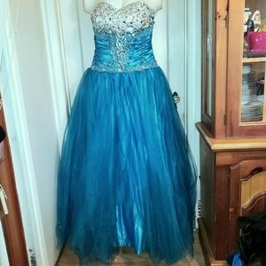 Satiny blue strapless bejeweled prom gown 12
